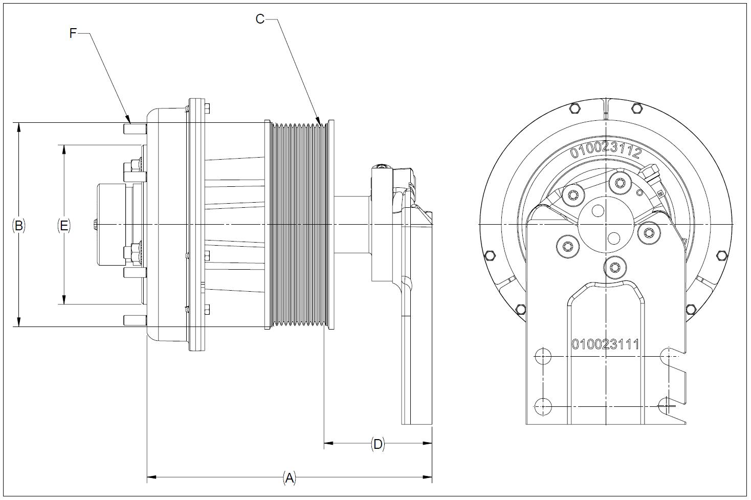 010023238 K32A Rear Air Fan Drive Assembly