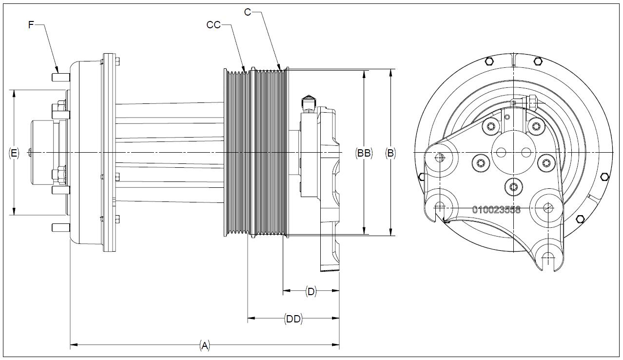 010023645 K32A Rear Air Fan Drive Assembly