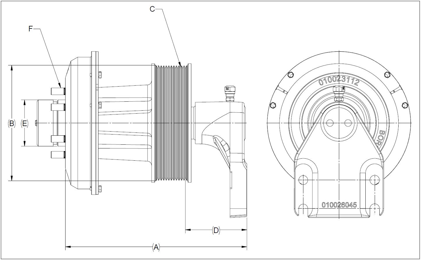010026186 K32 Rear Air Fan Drive Assembly