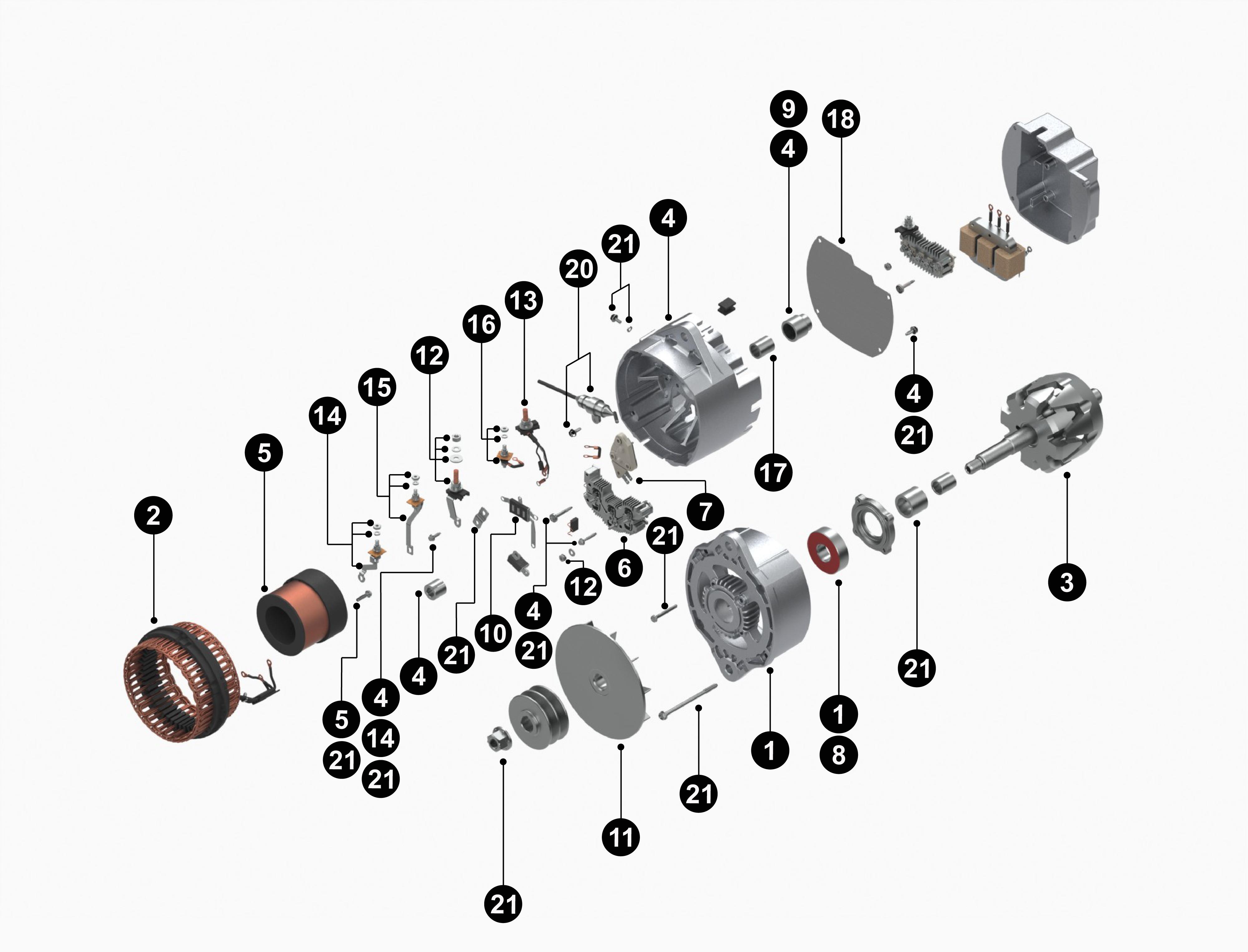 10459310 34SI Reman Alternator service parts